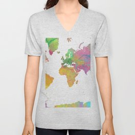 World Map - Watercolor 11 Unisex V-Neck