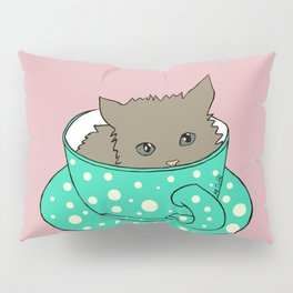 Fluffy Kitten In A Teacup Pink Background Pillow Sham