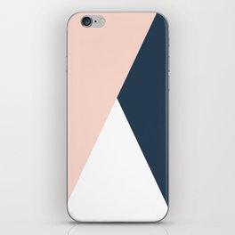 Elegant blush pink & navy blue geometric triangles iPhone Skin