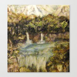 Waterfalls and Mountains Canvas Print