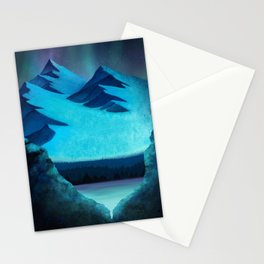 Aurora Borealis In The Mountain Pass Stationery Cards