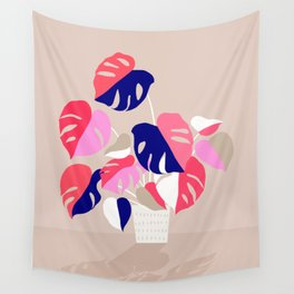 Monstera Deliciosa Plant in blue and pink Wall Tapestry