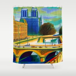 Vintage 1957 Paris River Seine & Notre-Dame Cathedral Travel Advertising Poster by Jacques Garamond Shower Curtain