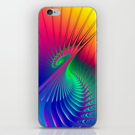Outburst Spiral Fractal neon colored iPhone Skin