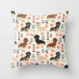 Dachshund nautical sailor dog pet portraits dog costumes dog breed pattern custom gifts Throw Pillow