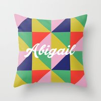 abigail larson Throw Pillows featuring Abigail Geo Brights by Name Sake Gifts