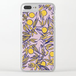 Orange Blossoms on Lavender Clear iPhone Case