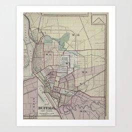 Vintage Map of Buffalo NY (1872) Art Print