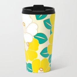 Japanese Style Camellia - Yellow and White Travel Mug