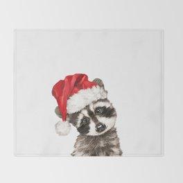Christmas Baby Raccoon Throw Blanket