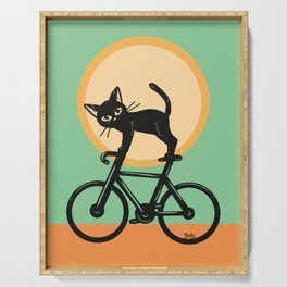Cat loves a bike Serving Tray
