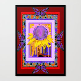 Butterflies & Yellow Surreal Sunflower Lilac Purple Design Abstract Canvas Print