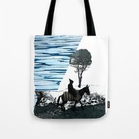 scott pilgrim Tote Bags featuring Pilgrim by MaridzaKimSarah