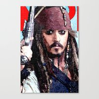 jack sparrow Canvas Prints featuring Jack Sparrow by Brian Raggatt