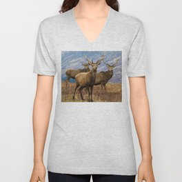 The four stags on the loch Unisex V-Neck