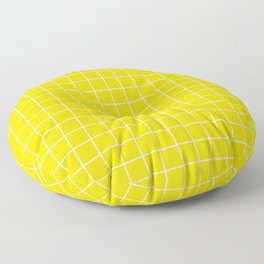 Sizzling Sunrise - yellow color - White Lines Grid Pattern Floor Pillow