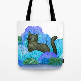 Blue Forest and Black Cat Watercolor Tote Bag