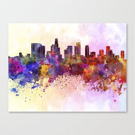 Los Angeles skyline in watercolor background Canvas Print