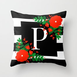 P - Monogram Black and White with Red Flowers Throw Pillow