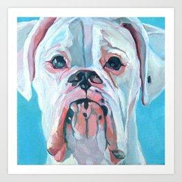 Otis the White Boxer Art Print
