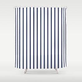 Vertical Navy Blue Stripes Pattern Shower Curtain