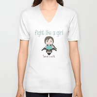 lara croft V-neck T-shirts featuring Fight Like a Girl - Lara Croft ~ Tomb Raider by ~ isa ~