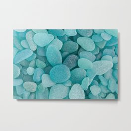 Teal Sea Glass - Up Close & Personal Metal Print