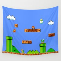 super mario Wall Tapestries featuring Mario by idaspark