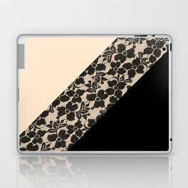 Elegant Peach Ivory Black Floral Lace Color Block Laptop & iPad Skin