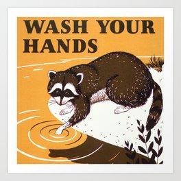 Orange Vintage Wash Your Hands Sign with Raccoon  Art Print