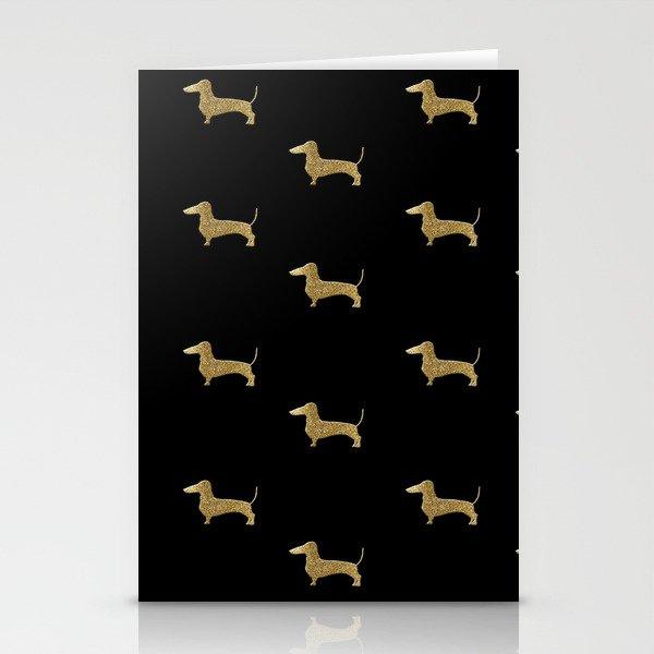Dachshund Dog Gold Glitter Pattern Stationery Cards