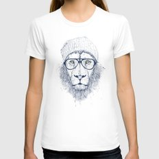 Cool lion MEDIUM White Womens Fitted Tee