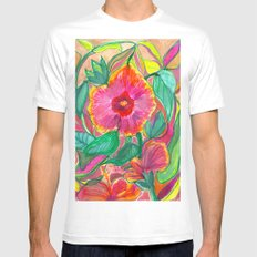 Happiness is Hibiscus White Mens Fitted Tee MEDIUM