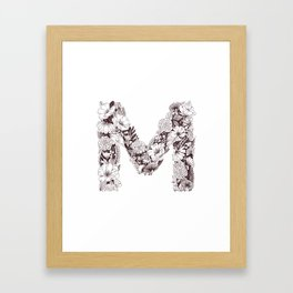 M botanical monogram Framed Art Print