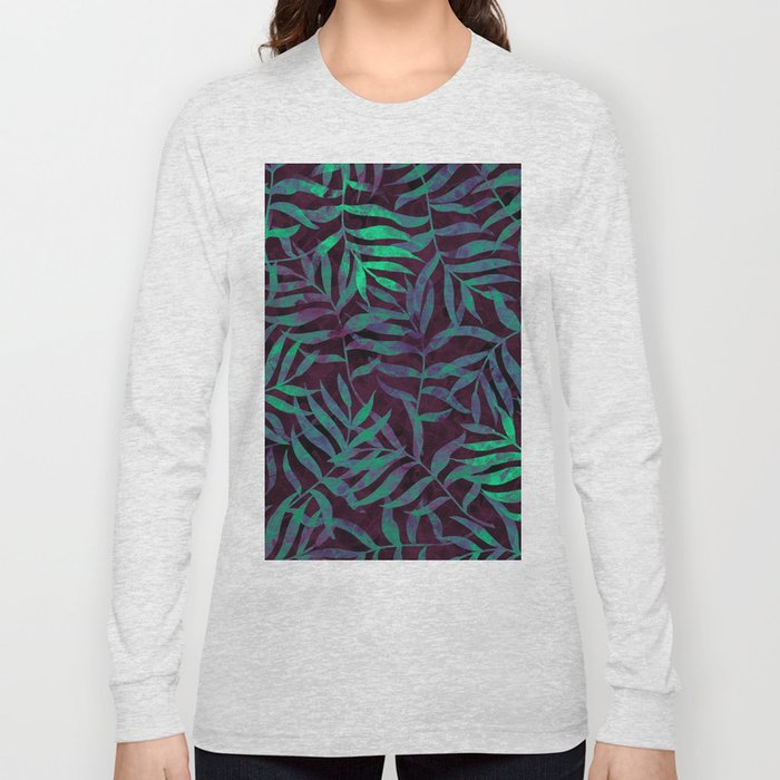 Watercolor Tropical Palm Leaves VII Long Sleeve T-shirt