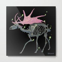 Spectral Irish Elk (Black) Metal Print