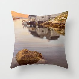 Peggy's Cove Harbor at Sunset in Nova Scotia Throw Pillow