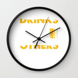 Drinks Well with Others Beer Shirt Father's Day Shirt Wall Clock