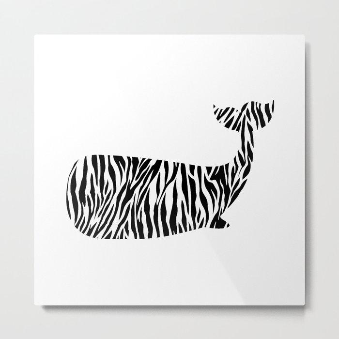 Whale with zebra print Metal Print