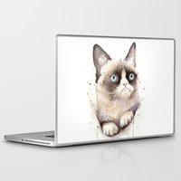 meme Laptop & iPad Skins featuring Grumpy Watercolor Cat by Olechka