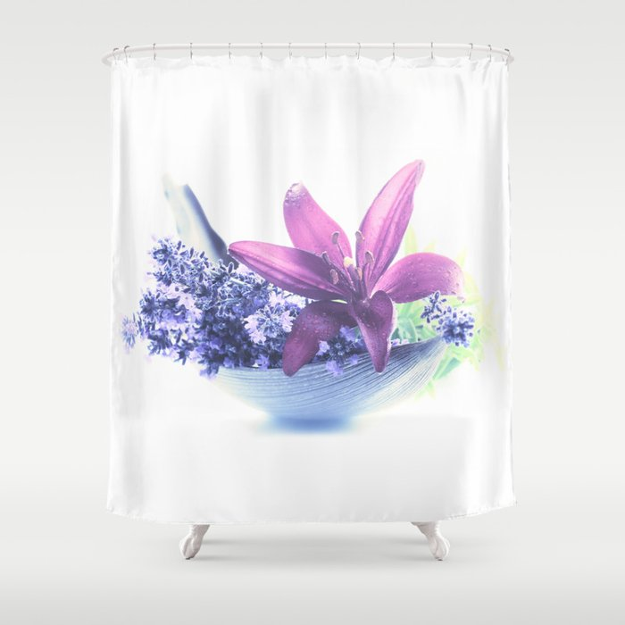 Summer flower pattern lilies and lavender Shower Curtain by ...