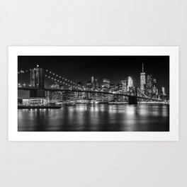 MANHATTAN SKYLINE & BROOKLYN BRIDGE Nightly Impressions   Panoramic Monochrome Art Print