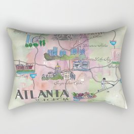 Atlanta Favorite Map with touristic Top Ten Highlights in Colorful Retro Style Rectangular Pillow