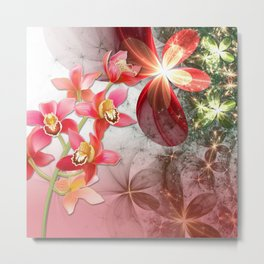 Colorful Orchids & Floral Abstract Metal Print
