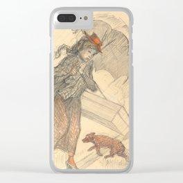 "Théophile Steinlen ""Woman in the Rain"" Clear iPhone Case"