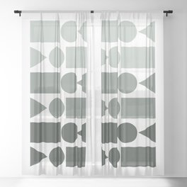 Ombre Shapes in Grey Sheer Curtain