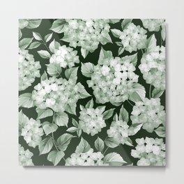 Green Hydrangea Larger Pattern Metal Print