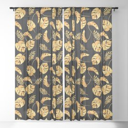 Gold Tropical Leaves Pattern Sheer Curtain