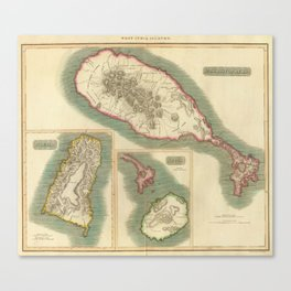 Vintage Map of Various Islands of The Caribbean Canvas Print