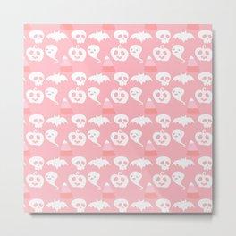 Pink Adorable Halloween Pattern Metal Print